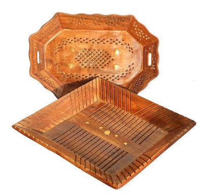 Hand Carved Wooden Serving Tray Set of 2 (Tea, Coffee, Snacks, Water) Decorative Tray/Platter for Home/Kitchen/Table Decor