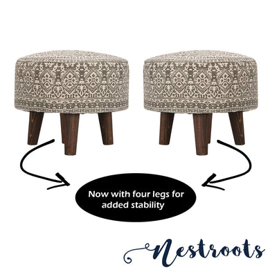 Nestroots Printed Ottoman Cushion Footrest Stool Pouf - 4 Wooden Legs Added Stability (Off-White Printed, Set of 2) - Home Decor Lo