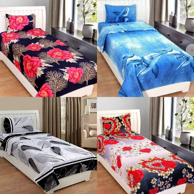 OMAJA HOME Glace Cotton Queen Size Single Bedsheets Combo Set of 4 Bedsheet with 4 Pillow Covers - Home Decor Lo