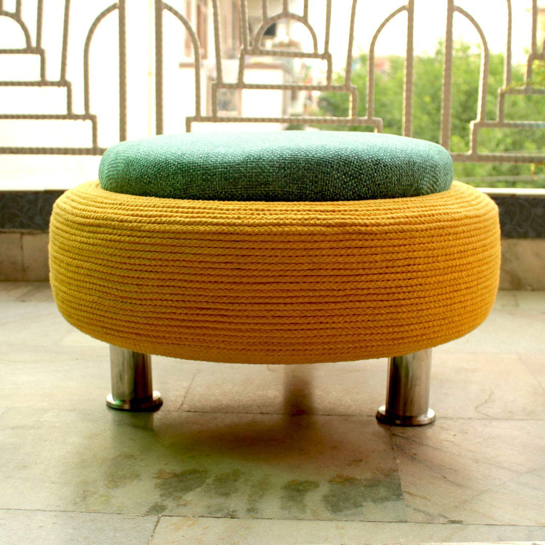 Large Ottoman Pouffe for Living Room with Storage: Yellow, Teal - Home Decor Lo