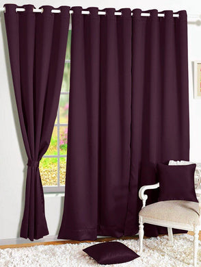 Story@Home Room Darkening Blackout Plain Solid Faux Silk Door Curtain - 7ft, Purple - Home Decor Lo