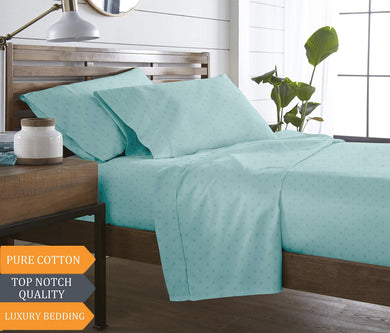 Blue Dahlia Swiss Dot Sateen Solid 300TC Cotton Deluxe Sheet Set with Pillow Cases (King, Pale Turquoise)