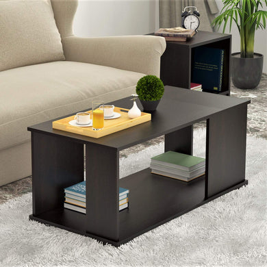 Bluewud Noel CT-NO-RTW Coffee Table with Shelves (Wenge) - Home Decor Lo