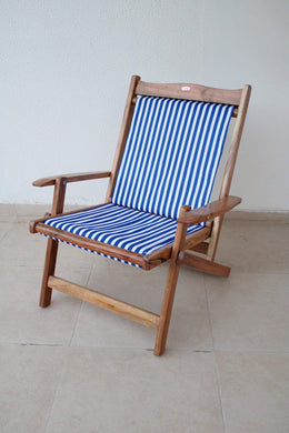 Royal Bharat Easy Chair (Low Back) - Wooden Folding Portable Relaxing Chair/Garden Chair/Outdoor Chair/Camping Chair with Teakwood Polish with Attractive Cotton Canvas Cloth (Standard, Blue)