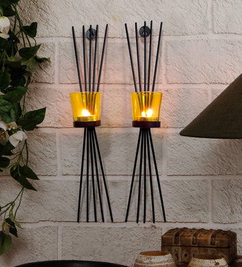 Tied Ribbons Tea Light Candles Holder (Black)