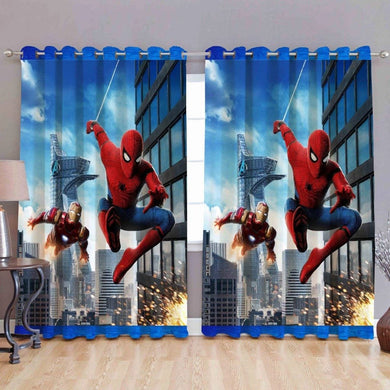 Digital Spiderman Print Heavy Polyester Eyelet 4 x 7 ft Door Curtain - Home Decor Lo