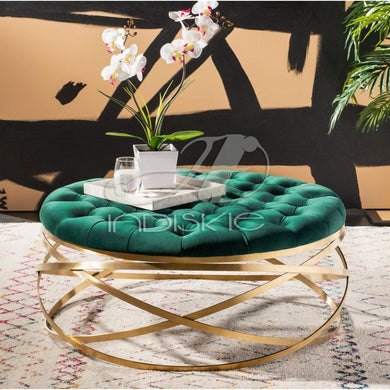 Tufted Velvet Footstool, Pouffes & Ottoman (Gold Finish) - Home Decor Lo