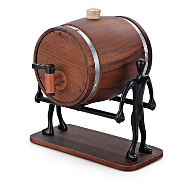 I Steel Wooden Decanter With Stand - Home Decor Lo