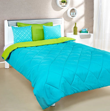 Microfibre Reversible Single Comforter:  Aqua Blue & Olive Green - Home Decor Lo