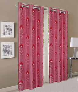 Queenzliving Secret Linen Curtain, Door 7 feet: Lava Red - Home Decor Lo