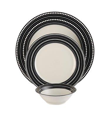 Hitkari Potteries Coloured Line Porcelain Dinner Set, 18-Pieces, White 15206