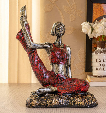 TIED RIBBONS Yoga Pose Lady Figurine Statue for Home Table Top Living Room Hall Bedroom Shelf Decoration - Yoga Posture Statue (18 X 28 cm, L X H) - Home Decor Lo