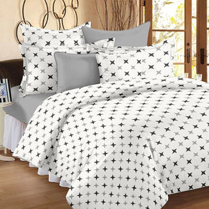 Ahmedabad Cotton Double Duvet Cover Set: White, Grey - Home Decor Lo