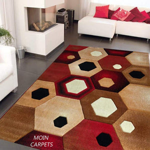 Moin Carpets Geometric Design Acrylic Wool Soft and Thick Carpet - Home Decor Lo
