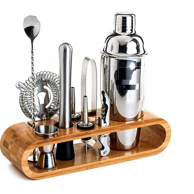 Stainless Steel Barware Cocktail Shaker Set with Stylish Bamboo Stand - Home Decor Lo
