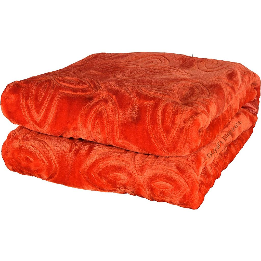 Goyal's Floral Embossed Mink Double Bed Blanket for Heavy Winters - Home Decor Lo