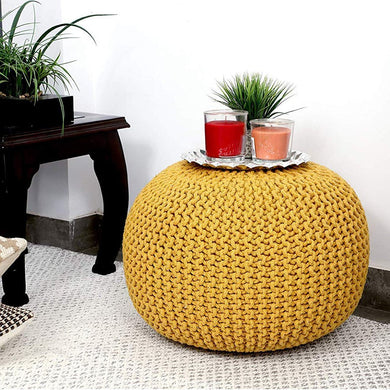 Tanishkam Home Décor Pouffe for Living Room: Yellow - Home Decor Lo
