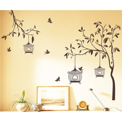 Decals Design 'Tree with Birds and Cages' Wall Sticker - Home Decor Lo