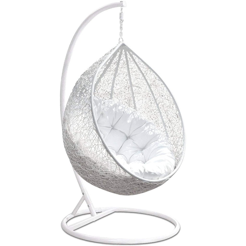 Wicker Rattan Egg Chair Swing with Stand: White - Home Decor Lo