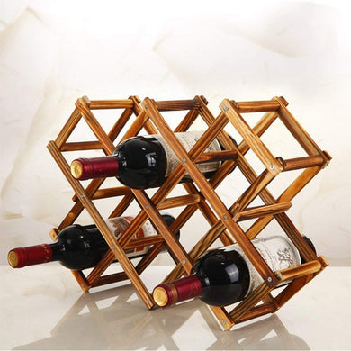 Premium Luxury Foldable Wooden 10 Wine Rack Organizer - Home Decor Lo