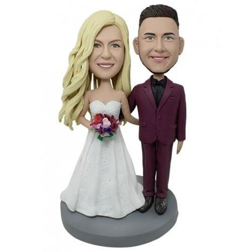 Wedding With Red Suit Custom Bobblehead With Engraved Text