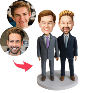 Same-sex Male Couple Custom Bobblehead With Engraved Text