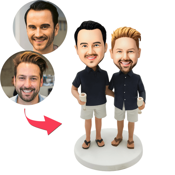 Casual Same-sex Male Couple Custom Bobblehead With Engraved Text