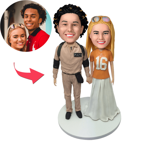 Casual Couple Custom Bobblehead With Engraved Text