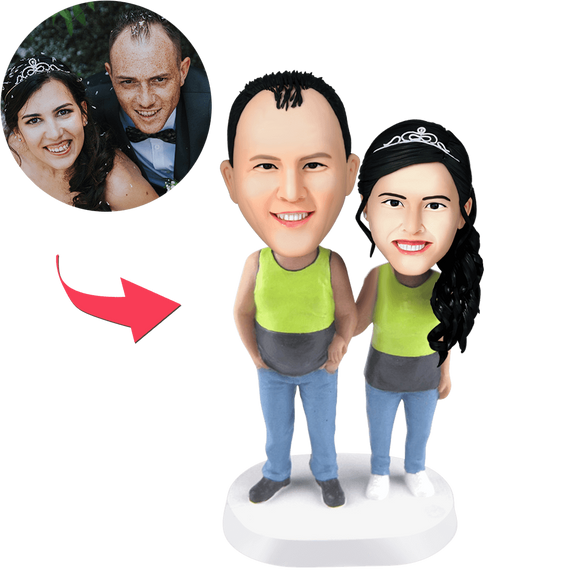 Couple Wearing Tank Tops Custom Bobblehead With Engraved Text
