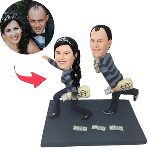 Funny Robbers Couple Custom Bobblehead With Engraved Text