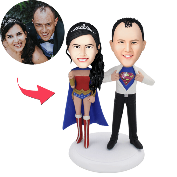 Superheroes Couple Popular Custom Bobblehead With Engraved Text