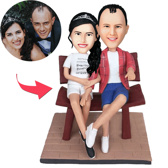Couple In The Chair Custom Bobblehead With Engraved Text