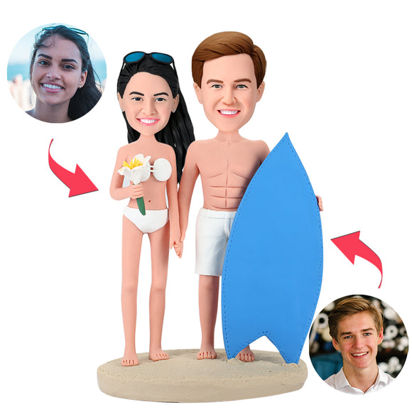 Surfing Couple Custom Bobblehead With Engraved Text