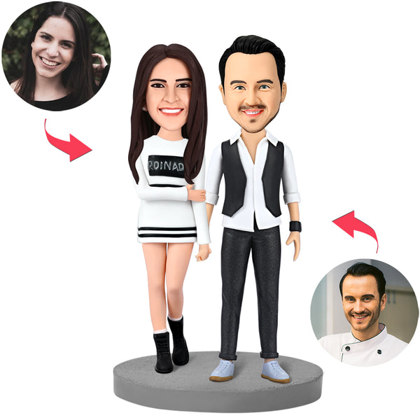 Modern Couple Custom Bobblehead With Engraved Text