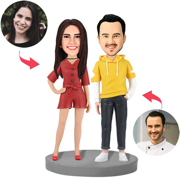 Fashion Couple In Casual Wear Custom Bobblehead With Engraved Text