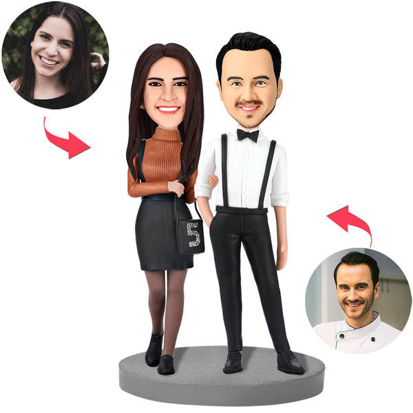 Modern Couple In Formal Wear Custom Bobblehead With Engraved Text