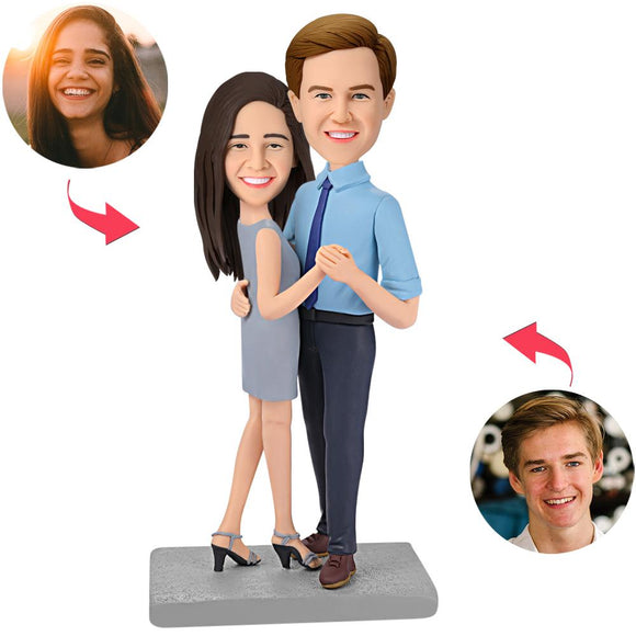 Happy Dancing Couple Custom Bobblehead With Engraved Text