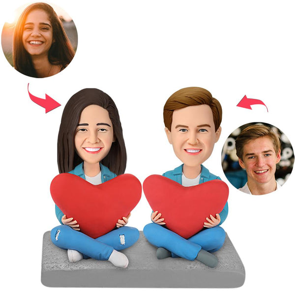 Heart Couple Custom Bobblehead With Engraved Text