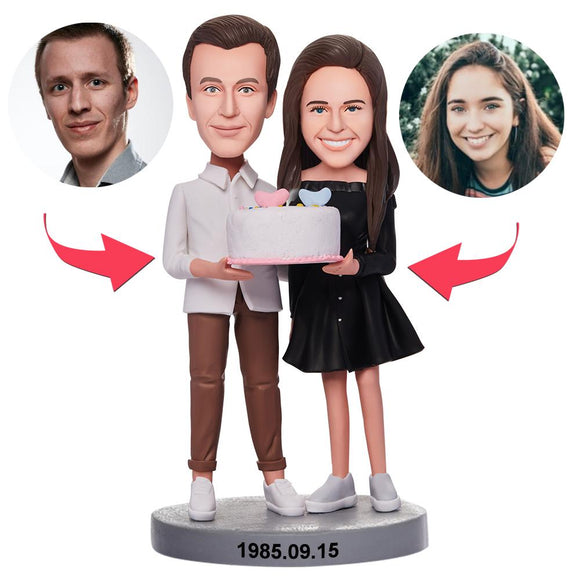 Custom Couple Holding Birthday Cake Bobbleheads