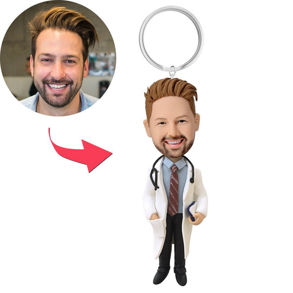Doctor With Stethoscope Custom Bobblehead With Engraved Text Key Chain