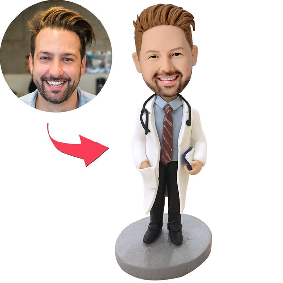 Cool Doctor With Stethoscope Custom Bobblehead