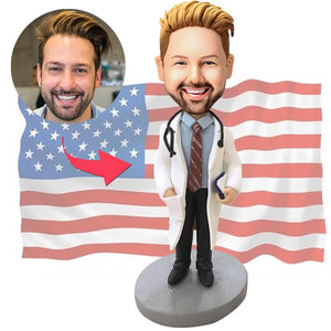 Doctor With Stethoscope Custom Bobblehead With Engraved Text