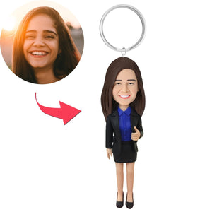 Female Executive Custom Bobblehead With Engraved Text Key Chain