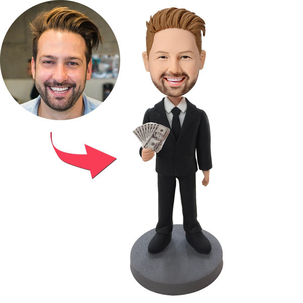 Male Executive In Black Suit Holding Money Custom Bobblehead With Engraved Text