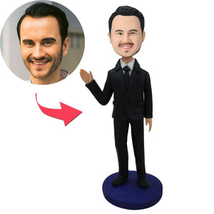 Male Executive In Black Suit Waving His Hand Custom Bobblehead With Engraved Text