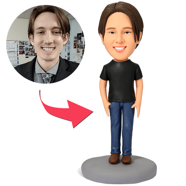 Casual Male in Jeans Custom Bobblehead With Engraved Text