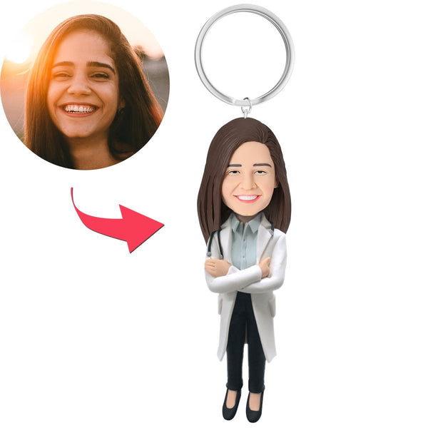 Female Doctor in Lab Coat with Stethoscope Custom Bobblehead With Engraved Text Key Chain