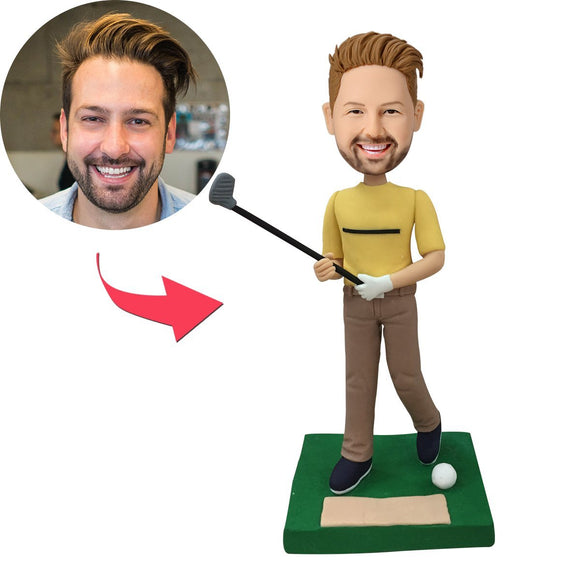 Golfer Swinging His Club Custom Bobblehead With Engraved Text