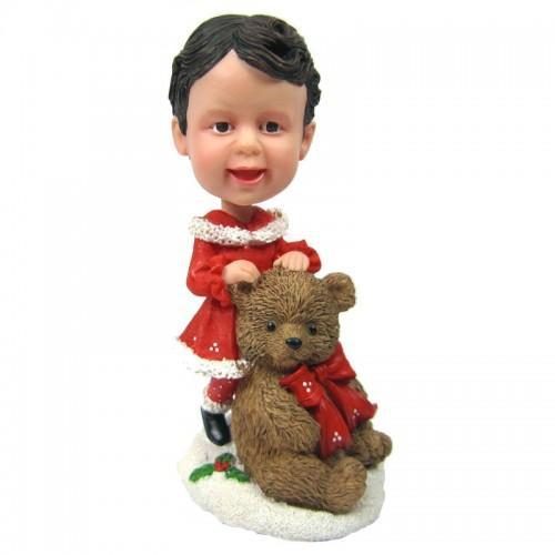 Christmas gifts Child with Large Teddy Bear Custom Bobblehead With Engraved Text