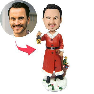 Christmas gifts Male with Lamp Custom Bobblehead With Engraved Text